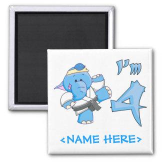 Elephant Karate 4th Birthday 2 Inch Square Magnet