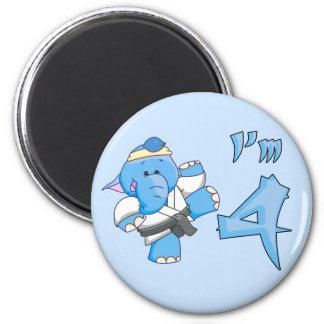 Elephant Karate 4th Birthday 2 Inch Round Magnet
