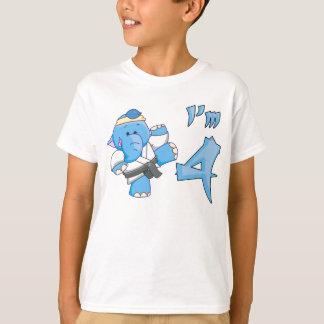 Elephant Karate 4th Birthday T-Shirt
