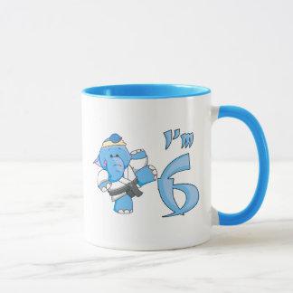 Elephant Karate 6th Birthday Mug