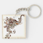 Elephant Keychain Abstract Spiral Artwork