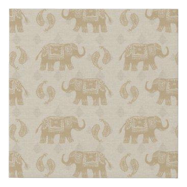 Art Themed Elephant Khaki Caravan Pattern Faux Canvas Print