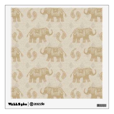 Art Themed Elephant Khaki Caravan Pattern Wall Sticker