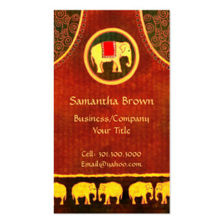 Elephant Kingdom Gold & Red Unique Business Cards