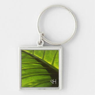 Elephant Leaf Silver-Colored Square Keychain
