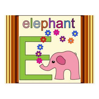 Elephant Letter E Postcard