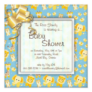 Elephant Lion Giraffe Wild Animals Baby Shower Personalized Announcement