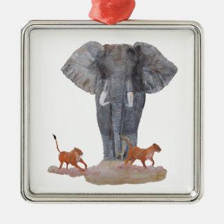 """""""Elephant & Lionesses"""" Premium Square Ornament"""