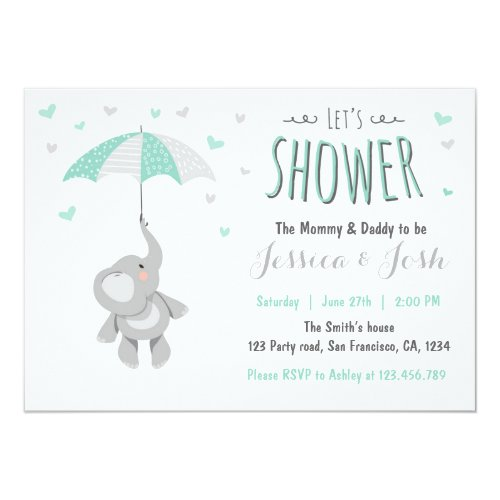 Elephant Little Peanut Baby Shower Invitation Mint