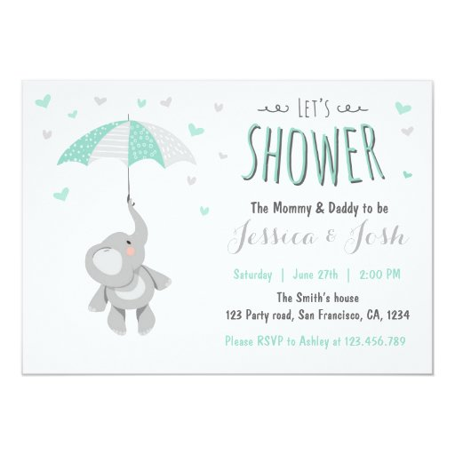 elephant little peanut baby shower invitation mint zazzle