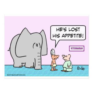 elephant lost appetite veterinarian postcard