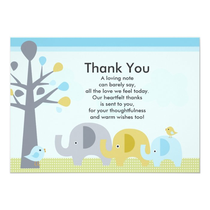 elephant love baby shower thank you card zazzle