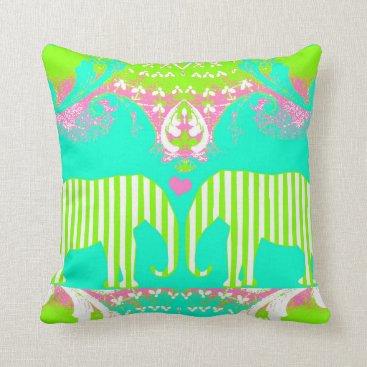Beach Themed Elephant Love Happy Throw Pillow