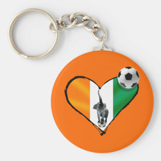 Elephant love Ivory Coast soccer fans gifts Basic Round Button Keychain