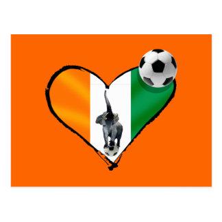 Elephant love Ivory Coast soccer fans gifts Postcard