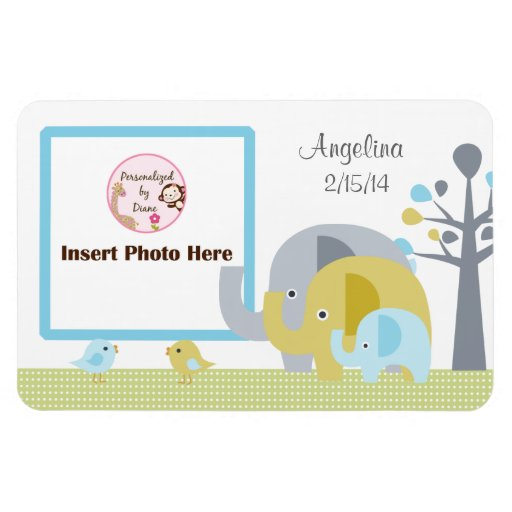 Elephant Love Personalized Photo Magnet
