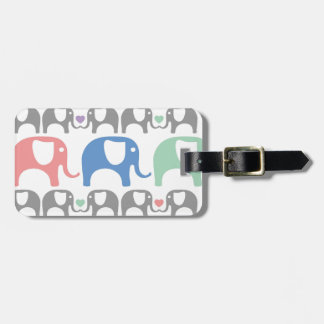 Elephant Love Soft Pastel Pattern with hearts Bag Tag