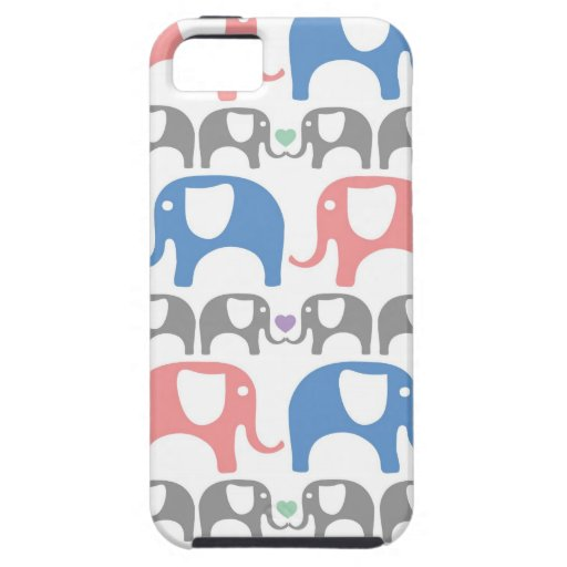 Elephant Love Soft Pastel Pattern with hearts iPhone 5 Case