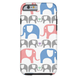 Elephant Love Soft Pastel Pattern with hearts Tough iPhone 6 Case