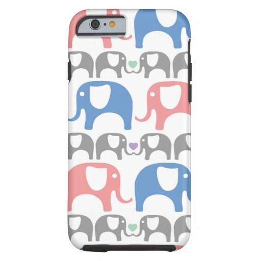 Elephant Love Soft Pastel Pattern with hearts iPhone 6 Case