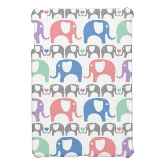 Elephant Love Soft Pastel Pattern with hearts iPad Mini Covers