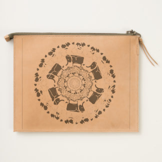 Elephant Mandala Inscribed Leather pouch