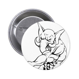 Elephant mascot fighting 2 inch round button