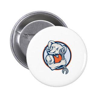 Elephant Mechanic Spanner Mascot Circle Retro 2 Inch Round Button