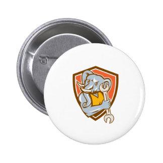 Elephant Mechanic Spanner Mascot Shield Retro 2 Inch Round Button