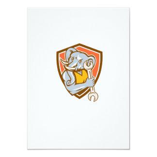 Elephant Mechanic Spanner Mascot Shield Retro 4.5x6.25 Paper Invitation Card