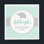 "Elephant Mint Green Gray Polka Dot Baby Shower Napkin<br><div class=""desc"">These gender-neutral baby shower paper napkins feature a cute gray baby elephant silhouetted on a gray-bordered white circle. The name of the mother-to-be appears in mint green cursive script typography, with the words &quot;Baby Shower&quot; and the date below in dark gray. The mint green polka dot pattern background is bisected...</div>"