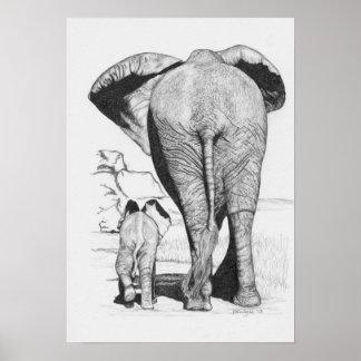 Elephant Mom and Baby Print