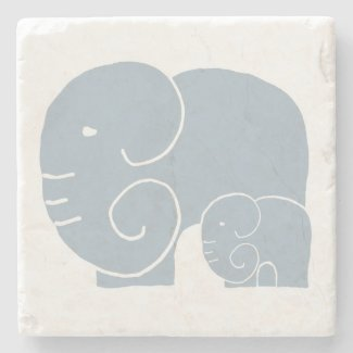 Elephant Mom & Baby stone coaster