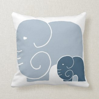 Elephant Mom & Baby throw cushion