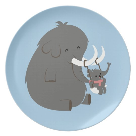 Elephant Mommy and Baby Plate