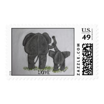 Elephant Mommy & Baby LOVE Postage