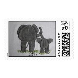 Elephant Mommy & Baby LOVE Postage