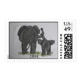 Elephant Mommy & Baby LOVE Postage Stamp