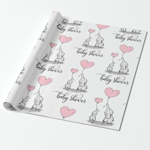 Elephant Mommy  Baby Shower Pink Grey White Girl Wrapping Paper