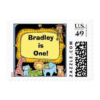 Elephant Monkey Giraffe Zoo Animals Birthday Postage Stamp