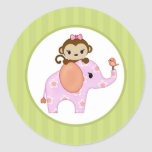 ELEPHANT MONKEY Sweet Safari Baby Shower SST#3 Classic Round Sticker