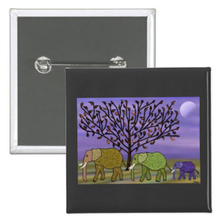 Elephant Moon 2 Inch Square Button