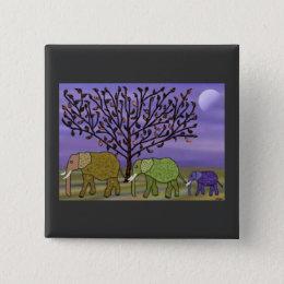 Elephant Moon Pinback Button