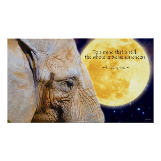 Elephant, Moon & Wisdom Quote Motivational Poster