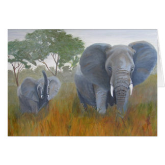 Elephant Mother and Baby Card