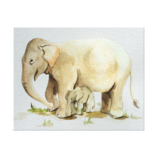 Elephant Mother and Baby Watercolor 14x11 Gallery Wrap Canvas