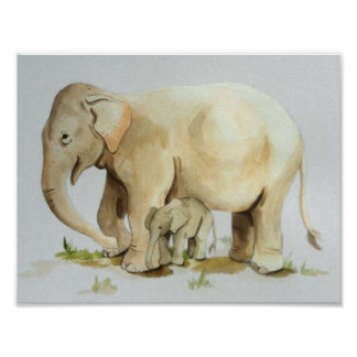 Elephant Mother and Baby Watercolor Print 11x8.5