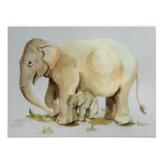 Elephant Mother and Baby Watercolor Print 16x12