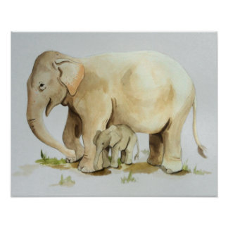 Elephant Mother and Baby Watercolor Print 20x16