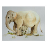 Elephant Mother and Baby Watercolor Print 20x16 Poster